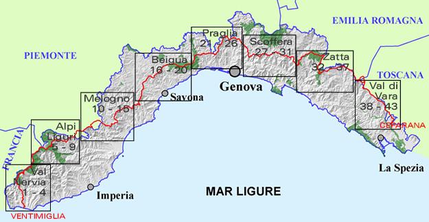 Cartina Geografica Riviera Ligure Di Ponente.L Alta Via Dei Monti Liguri Tappa Per Tappa